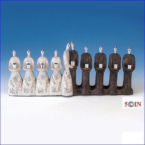 Contemporary Menorah Best Friends Stone and Pewter