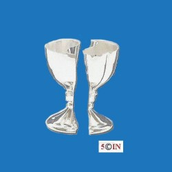 "Silver Plated Lovers' Cup Set. Kiddush Cup Goblets 5""H Interlocking Silver Plated Lover's Kiddush Cup Set"