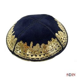 Kipa-DONE-Suede- Navy and Gold Jerusalem-GOOD-Picture