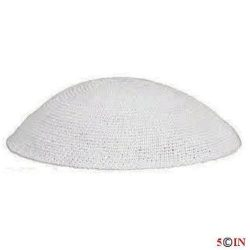 Knitted Kippot-White-Picture