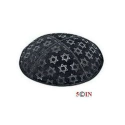 Kipa-DONE-Suede-Black and Silver Star of David-Picture