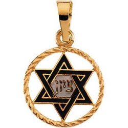 Judaica-Jewelry-14K-Gold-wBlue-Enamel-Zion-Star-of-David-Pendant-B00K2GUCT6