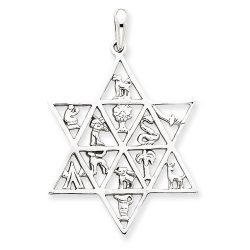 Judaica-Jewelry-14K-White-Gold-Star-of-David-12-Tribes-Pendant-B00K2LSTXC