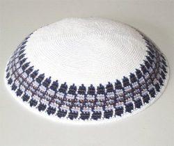 Knitted-Kippot-Kipot-Kipa-Kipah-Yarmulke-Yarmulka-Head-Covering-White-Background-with-Blue-Grey-Design-B009XVGYMU
