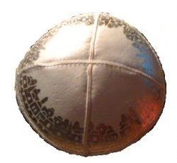 Leather-Kippot-kippah-kipa-kipah-yarmulke-yarmulka-head-covering-Jerusalem-White-Silver-B009XMQUFU