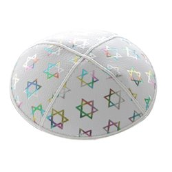 Leather-Kippot-kippah-kipa-kipah-yarmulke-yarmulka-head-covering-Star-of-David-White-Silver-B00AXAGZ6K