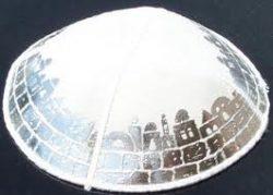Suede-Kippot-kippah-kipa-kipah-yarmulke-yarmulka-head-covering-White-with-blind-embossed-Jerusalem-B00CRU5Q28
